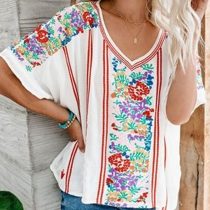 EVERYDAY IS SUNSHINE EMBROIDERED BLOUSE